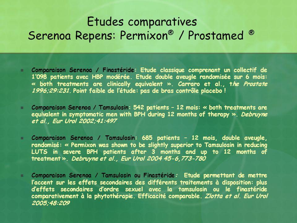 Comparaison Serenoa / Finastéride: Etude classique comprenant un collectif de 1098 patients avec HBP modérée. Etude double aveugle randomisée sur 6 mo