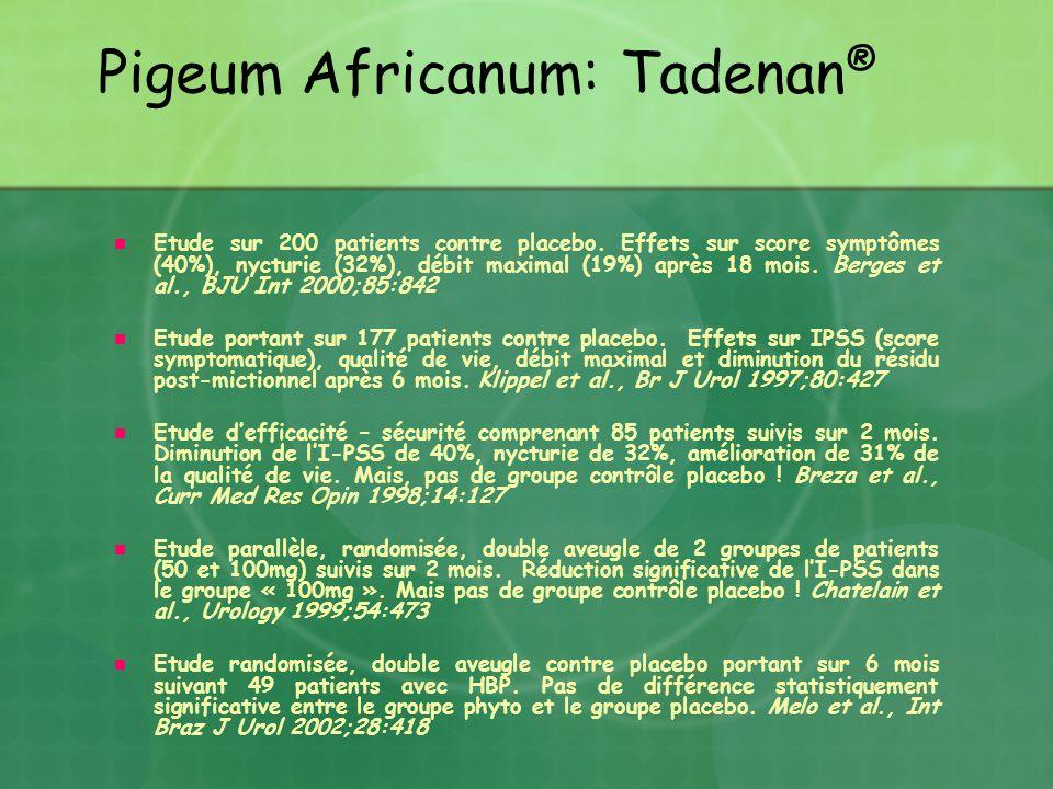 Pigeum Africanum: Tadenan ® Etude sur 200 patients contre placebo. Effets sur score symptômes (40%), nycturie (32%), débit maximal (19%) après 18 mois