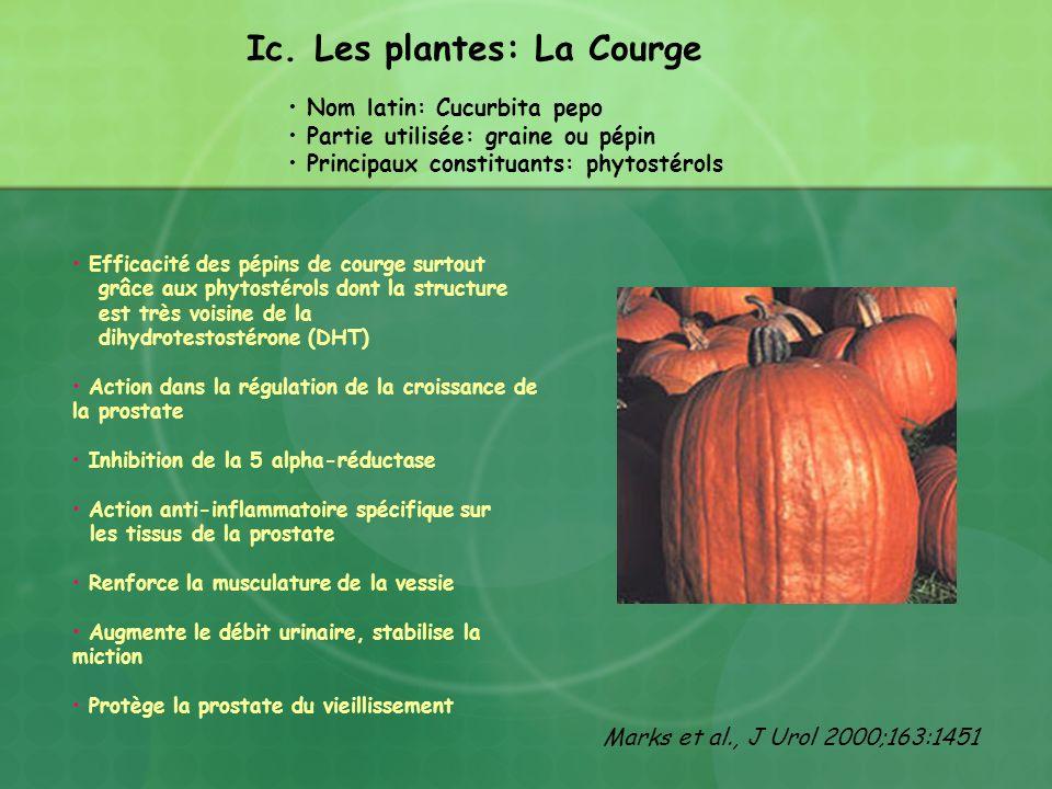 Ic. Les plantes: La Courge Nom latin: Cucurbita pepo Partie utilisée: graine ou pépin Principaux constituants: phytostérols Efficacité des pépins de c