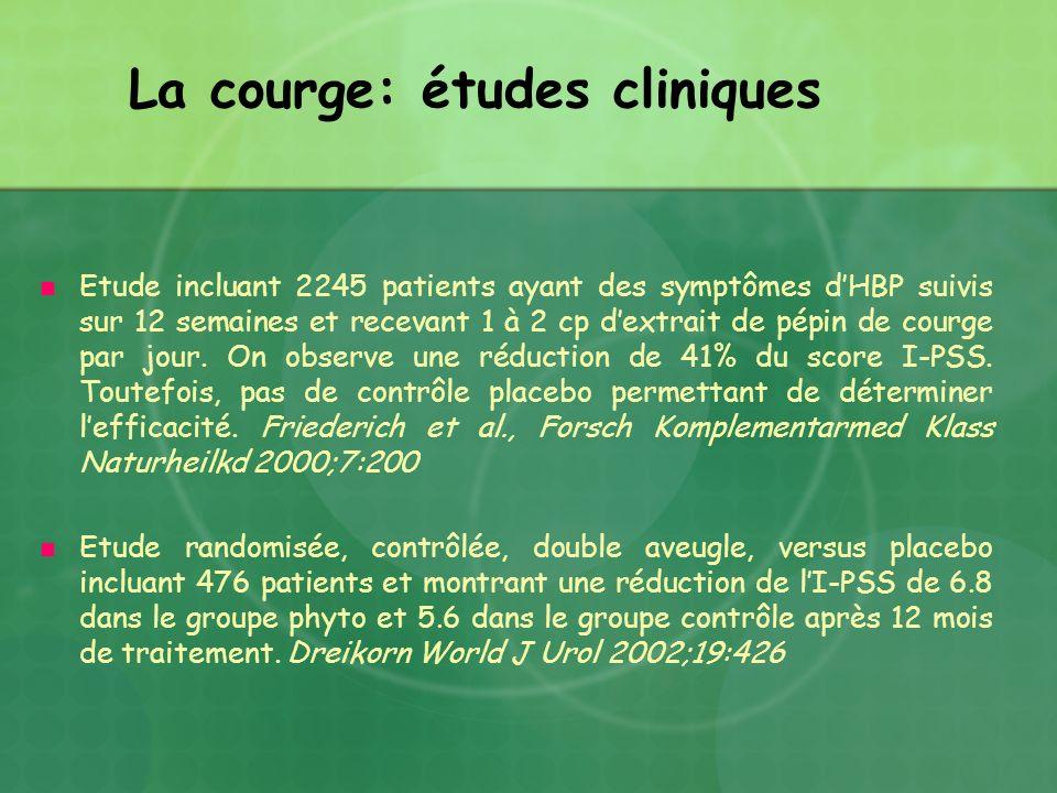 La courge: études cliniques Etude incluant 2245 patients ayant des symptômes dHBP suivis sur 12 semaines et recevant 1 à 2 cp dextrait de pépin de cou