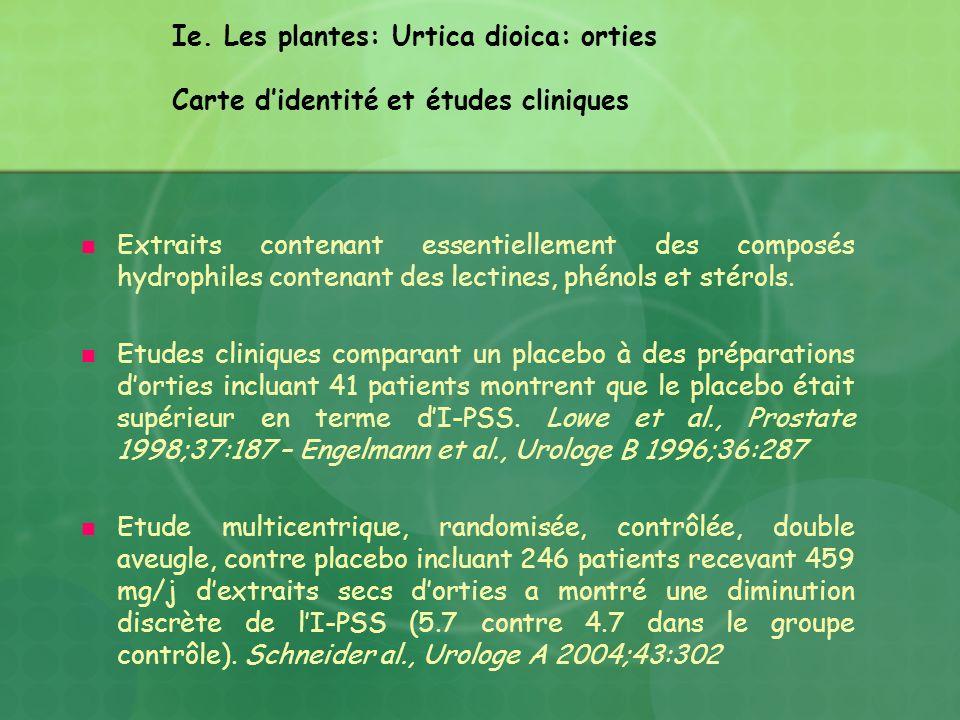 Ie. Les plantes: Urtica dioica: orties Carte didentité et études cliniques Extraits contenant essentiellement des composés hydrophiles contenant des l