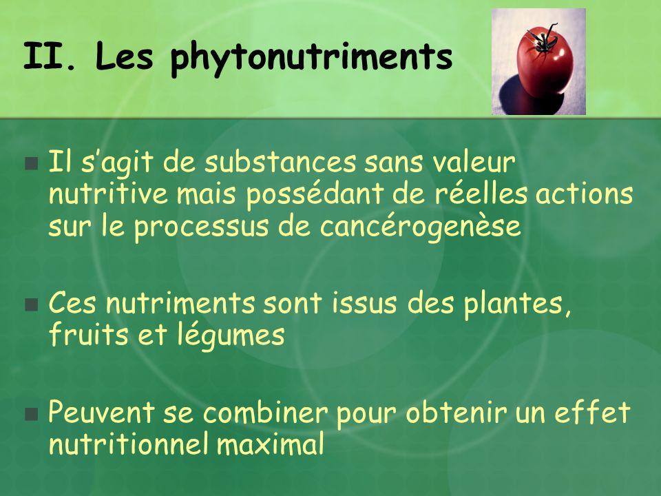 II. Les phytonutriments Il sagit de substances sans valeur nutritive mais possédant de réelles actions sur le processus de cancérogenèse Ces nutriment