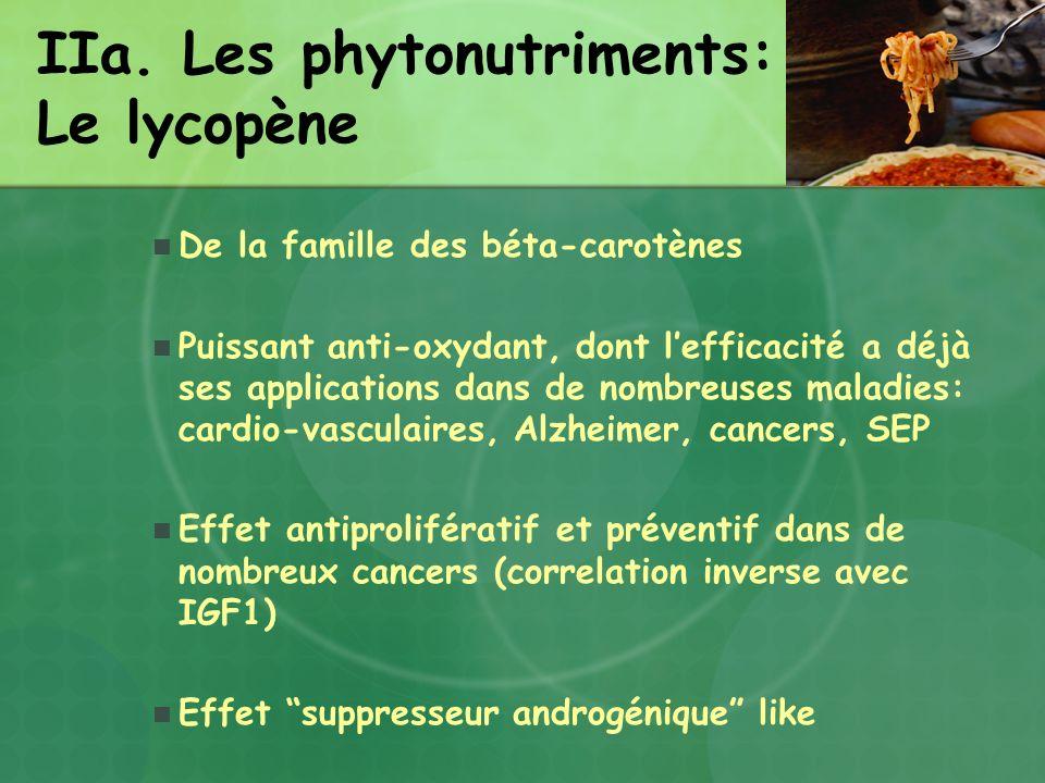 IIa. Les phytonutriments: Le lycopène De la famille des béta-carotènes Puissant anti-oxydant, dont lefficacité a déjà ses applications dans de nombreu