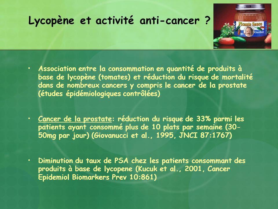 Association entre la consommation en quantité de produits à base de lycopène (tomates) et réduction du risque de mortalité dans de nombreux cancers y