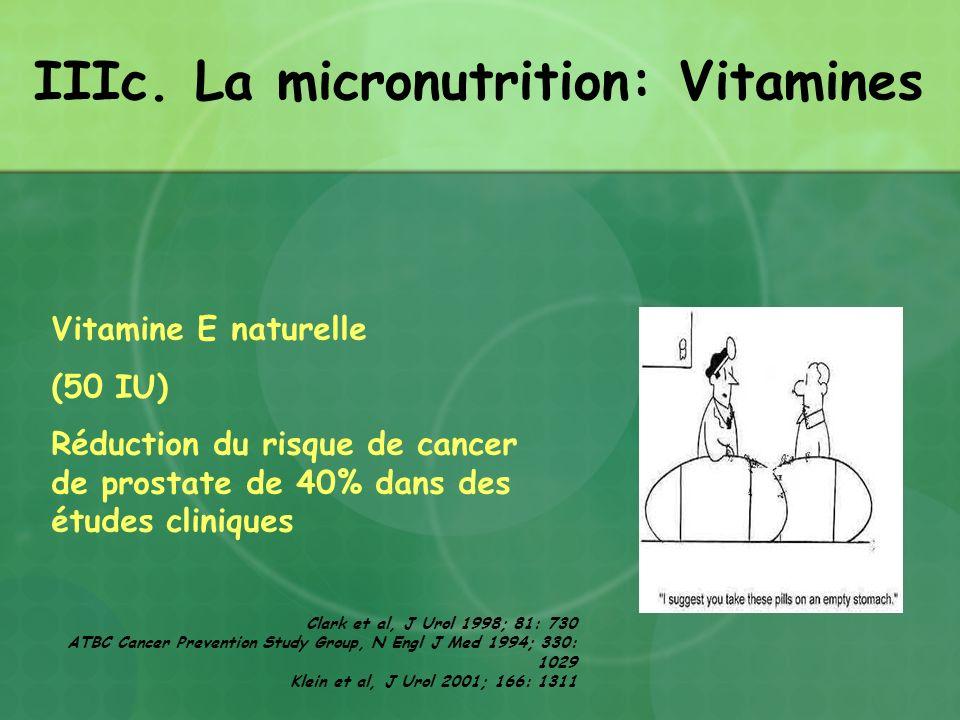 Vitamine E naturelle (50 IU) Réduction du risque de cancer de prostate de 40% dans des études cliniques Clark et al, J Urol 1998; 81: 730 ATBC Cancer