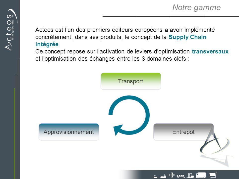 Approvisionnement Transport Entrepôt Notre gamme Acteos est lun des premiers éditeurs européens a avoir implémenté concrètement, dans ses produits, le