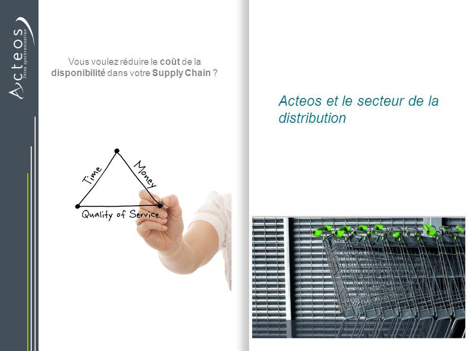 | Acteos et le secteur de la distribution | Lun des pôles dexcellence dActeos 20 ans dexpérience du Retail De nombreuses références et déploiements de solutions pour le transport, lentrepôt et lapprovisionnement Des consultants spécialisés et issus du terrain, Une veille permanente des attentes, une R&D sectorielle Des produits adaptés au secteur, une offre verticalisée Notre force : Expertise métier + Solutions adaptées + maîtrise SCM