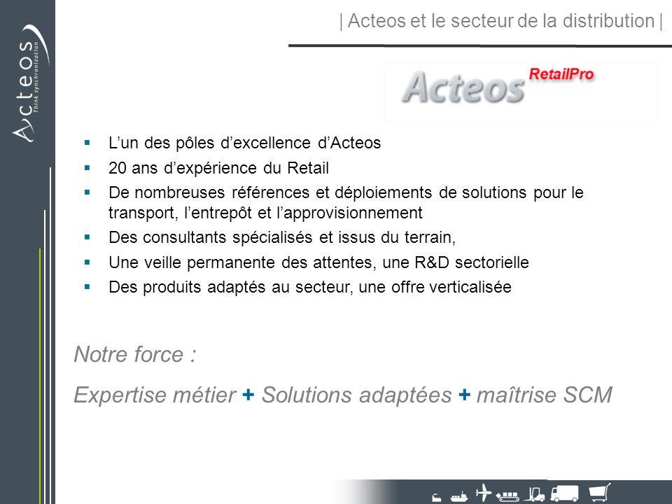  Acteos et le secteur de la distribution   Lun des pôles dexcellence dActeos 20 ans dexpérience du Retail De nombreuses références et déploiements de