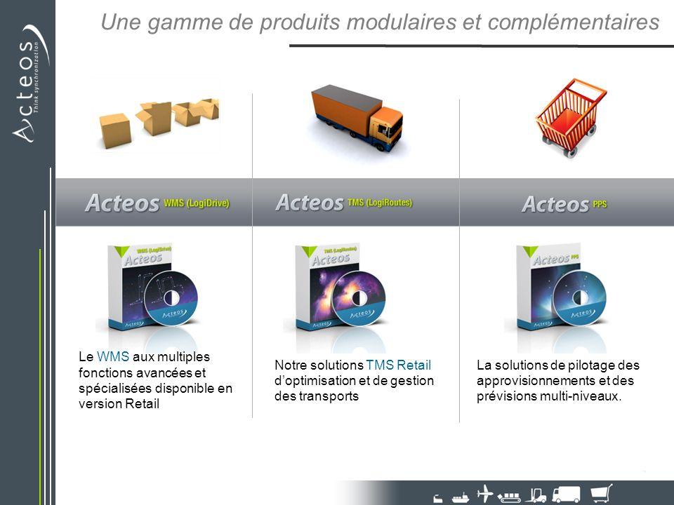 Une gamme de produits modulaires et complémentaires Le WMS aux multiples fonctions avancées et spécialisées disponible en version Retail Notre solutio