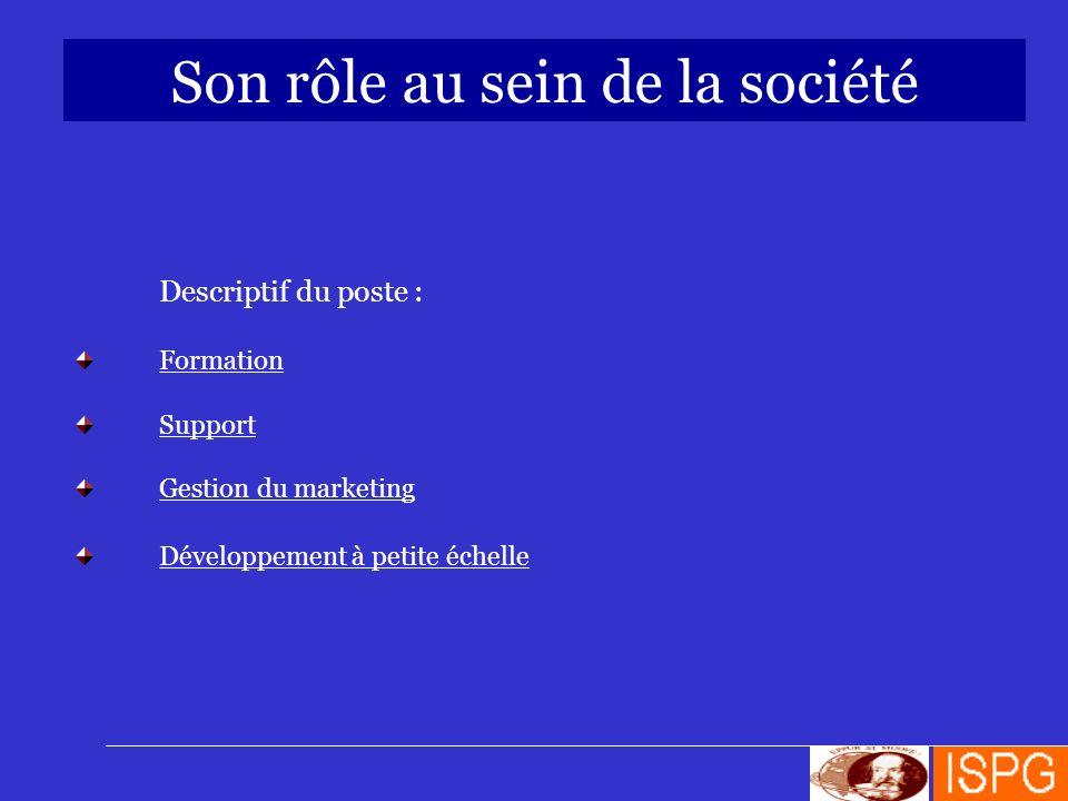 Son rôle au sein de la société Descriptif du poste : Formation Support Gestion du marketing Développement à petite échelle