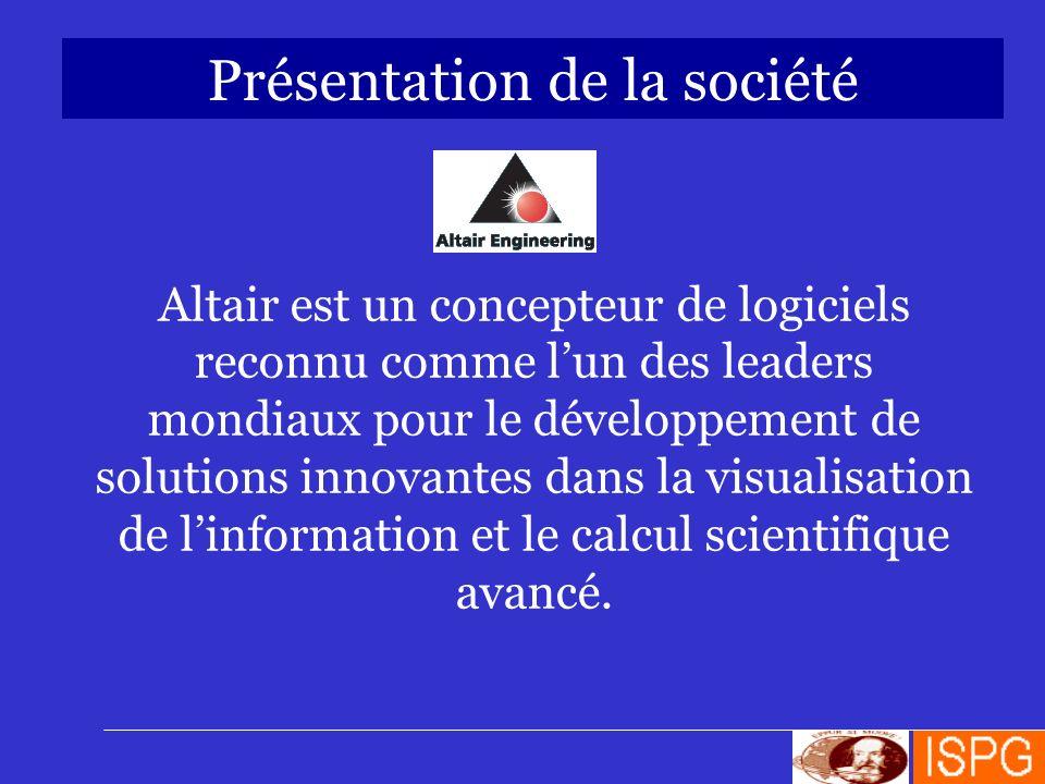 Présentation de la société Altair est un concepteur de logiciels reconnu comme lun des leaders mondiaux pour le développement de solutions innovantes