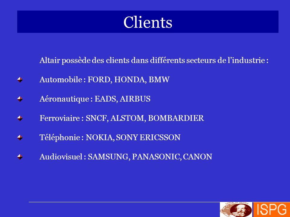 Clients Altair possède des clients dans différents secteurs de lindustrie : Automobile : FORD, HONDA, BMW Aéronautique : EADS, AIRBUS Ferroviaire : SN