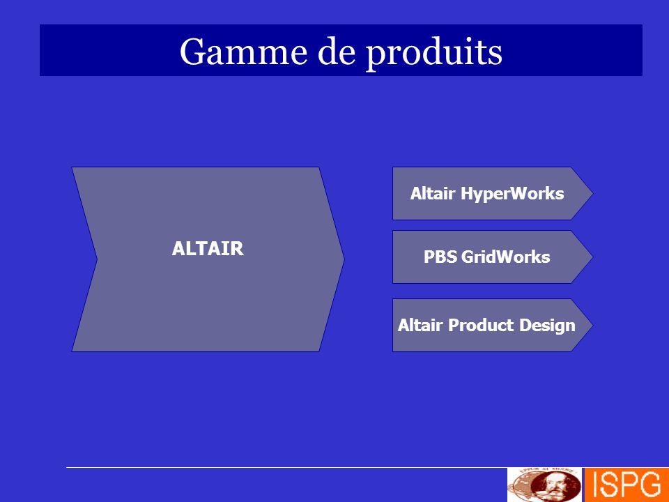 Gamme de produits Altair HyperWorks PBS GridWorks Altair Product Design ALTAIR