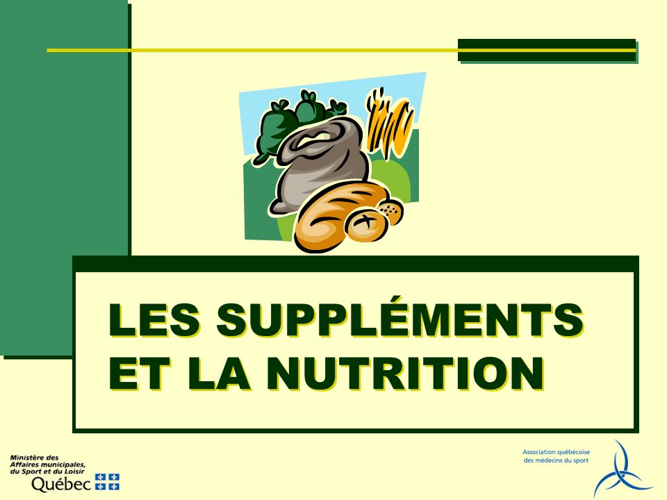 UTILISATION DE SUPPLÉMENTS Marché de plusieurs MM $ 40 % des Américains Religion plus que science Sportifs québécois 26,45 % suppléments vitamines 11,45 % créatine