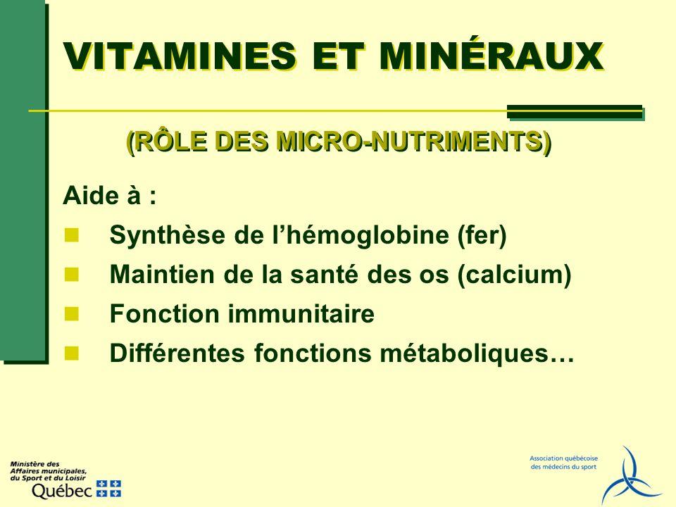 VITAMINES ET MINÉRAUX Aide à : Synthèse de lhémoglobine (fer) Maintien de la santé des os (calcium) Fonction immunitaire Différentes fonctions métabol