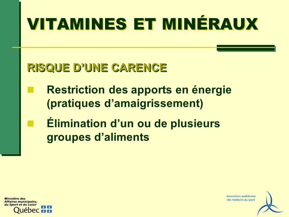 VITAMINES ET MINÉRAUX Restriction des apports en énergie (pratiques damaigrissement) Élimination dun ou de plusieurs groupes daliments RISQUE DUNE CAR