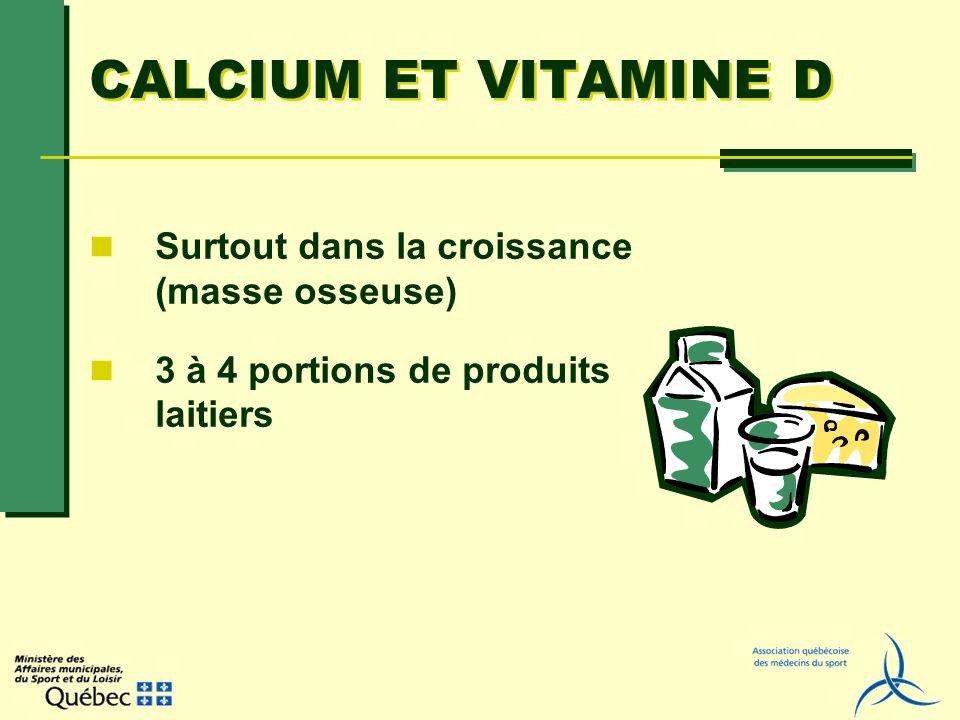 CALCIUM ET VITAMINE D Surtout dans la croissance (masse osseuse) 3 à 4 portions de produits laitiers