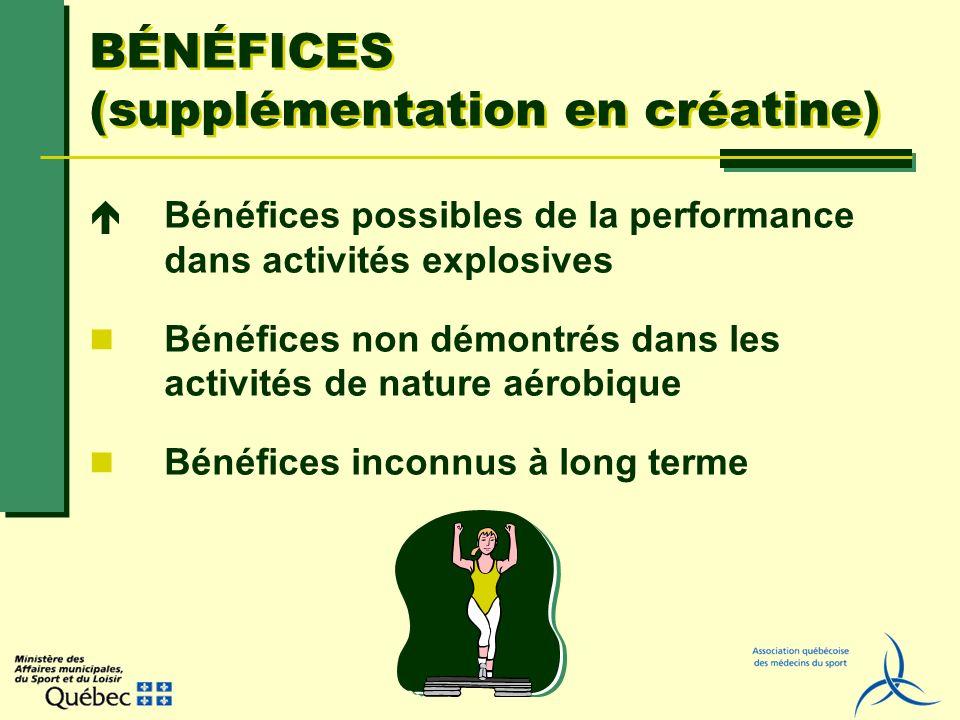 BÉNÉFICES (supplémentation en créatine) Bénéfices possibles de la performance dans activités explosives Bénéfices non démontrés dans les activités de