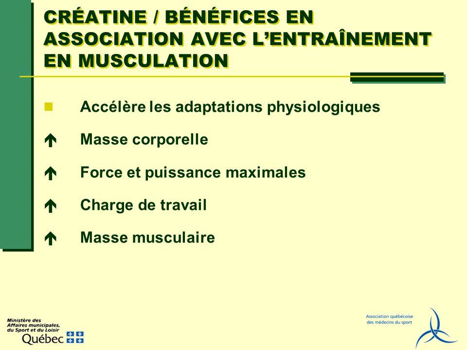 CRÉATINE / BÉNÉFICES EN ASSOCIATION AVEC LENTRAÎNEMENT EN MUSCULATION Accélère les adaptations physiologiques Masse corporelle Force et puissance maxi