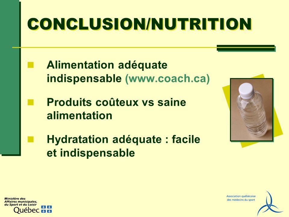 CONCLUSION/NUTRITION Alimentation adéquate indispensable (www.coach.ca) Produits coûteux vs saine alimentation Hydratation adéquate : facile et indisp