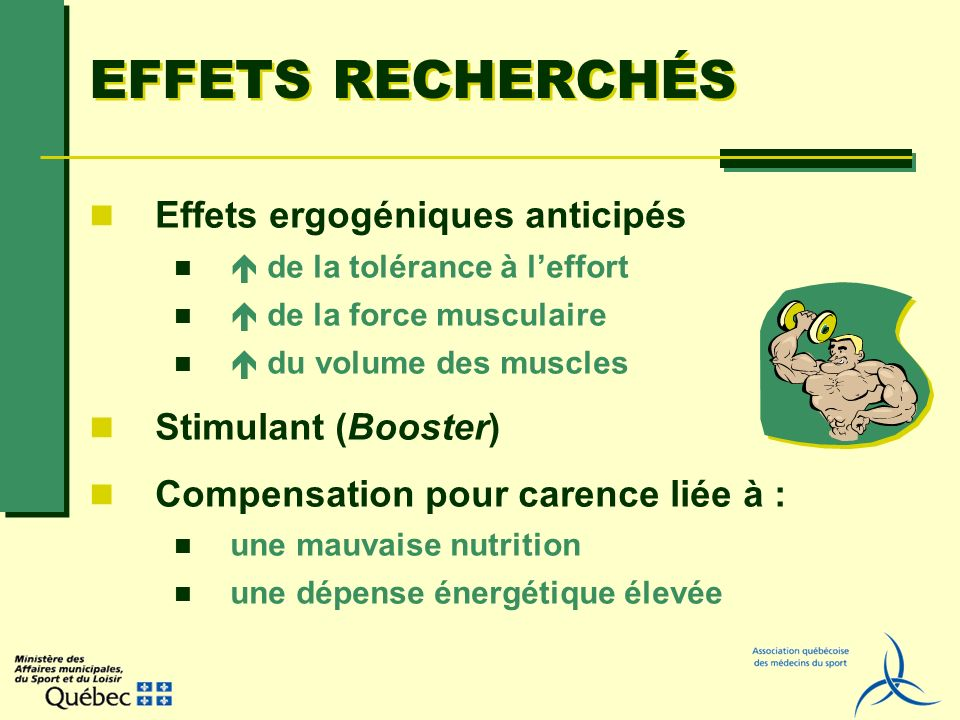 EFFETS RECHERCHÉS Effets ergogéniques anticipés de la tolérance à leffort de la force musculaire du volume des muscles Stimulant (Booster) Compensatio