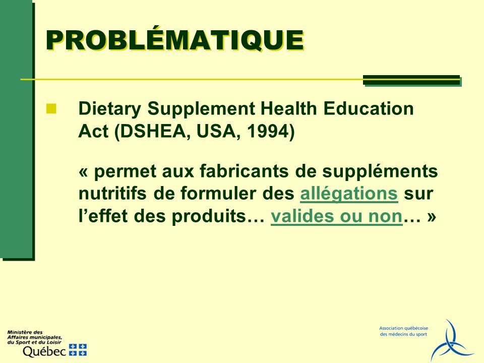 PROBLÉMATIQUE Dietary Supplement Health Education Act (DSHEA, USA, 1994) « permet aux fabricants de suppléments nutritifs de formuler des allégations