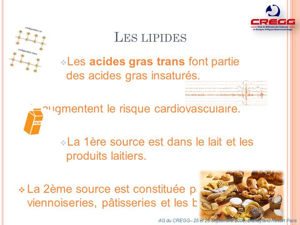L ES LIPIDES Les acides gras trans font partie des acides gras insaturés. Ils augmentent le risque cardiovasculaire. La 1ère source est dans le lait e