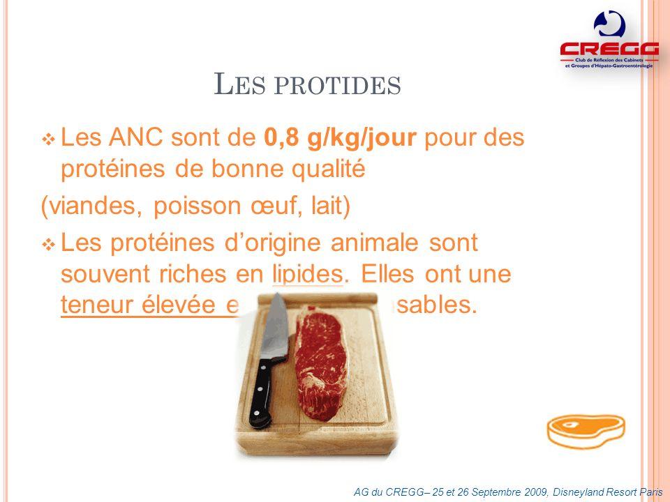 L ES PROTIDES Les ANC sont de 0,8 g/kg/jour pour des protéines de bonne qualité (viandes, poisson œuf, lait) Les protéines dorigine animale sont souve