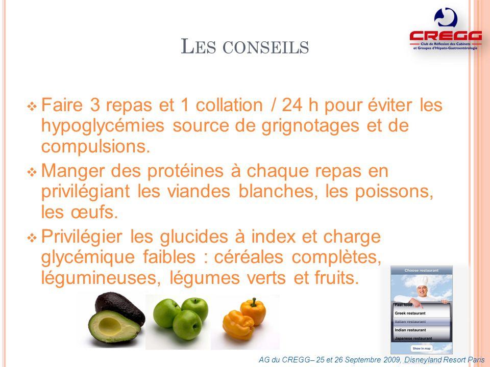 L ES CONSEILS Faire 3 repas et 1 collation / 24 h pour éviter les hypoglycémies source de grignotages et de compulsions. Manger des protéines à chaque