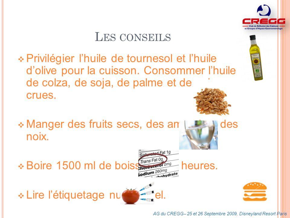 L ES CONSEILS Privilégier lhuile de tournesol et lhuile dolive pour la cuisson. Consommer lhuile de colza, de soja, de palme et de noix crues. Manger