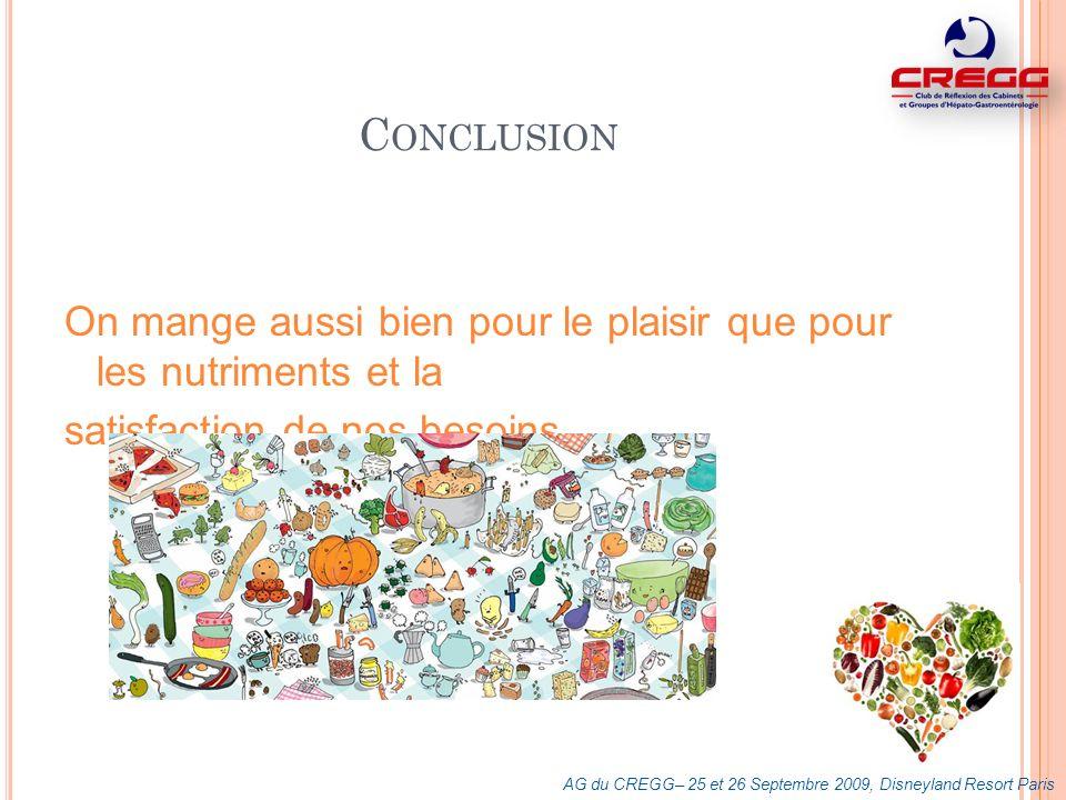 C ONCLUSION On mange aussi bien pour le plaisir que pour les nutriments et la satisfaction de nos besoins. AG du CREGG– 25 et 26 Septembre 2009, Disne