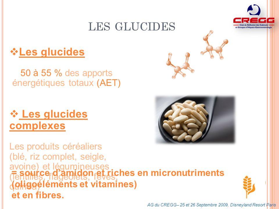 LES GLUCIDES Les glucides 50 à 55 % des apports énergétiques totaux (AET) Les glucides complexes Les produits céréaliers (blé, riz complet, seigle, av