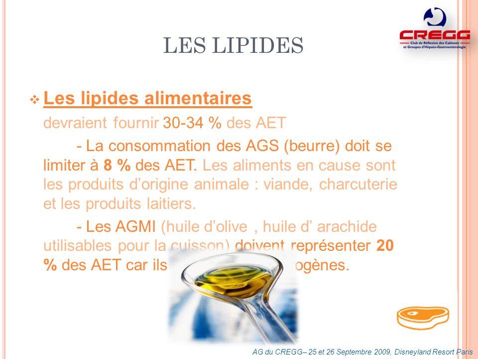 Les AGPI à 18 C sont considérés comme essentiels : lacide linoléique ( oméga 6 ) présent dans lhuile de tournesol et de mais lacide alpha-linolénique (oméga 3) présent dans lhuile de soja, de colza ou de noix (non utilisables pour la cuisson) rapport Oméga 6 / Oméga 3 = 5 LES LIPIDES AG du CREGG– 25 et 26 Septembre 2009, Disneyland Resort Paris