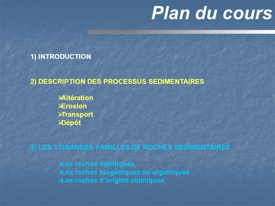 1) INTRODUCTION 2) DESCRIPTION DES PROCESSUS SEDIMENTAIRES Altération Erosion Transport Dépôt 3) LES 3 GRANDES FAMILLES DE ROCHES SEDIMENTAIRES Les ro