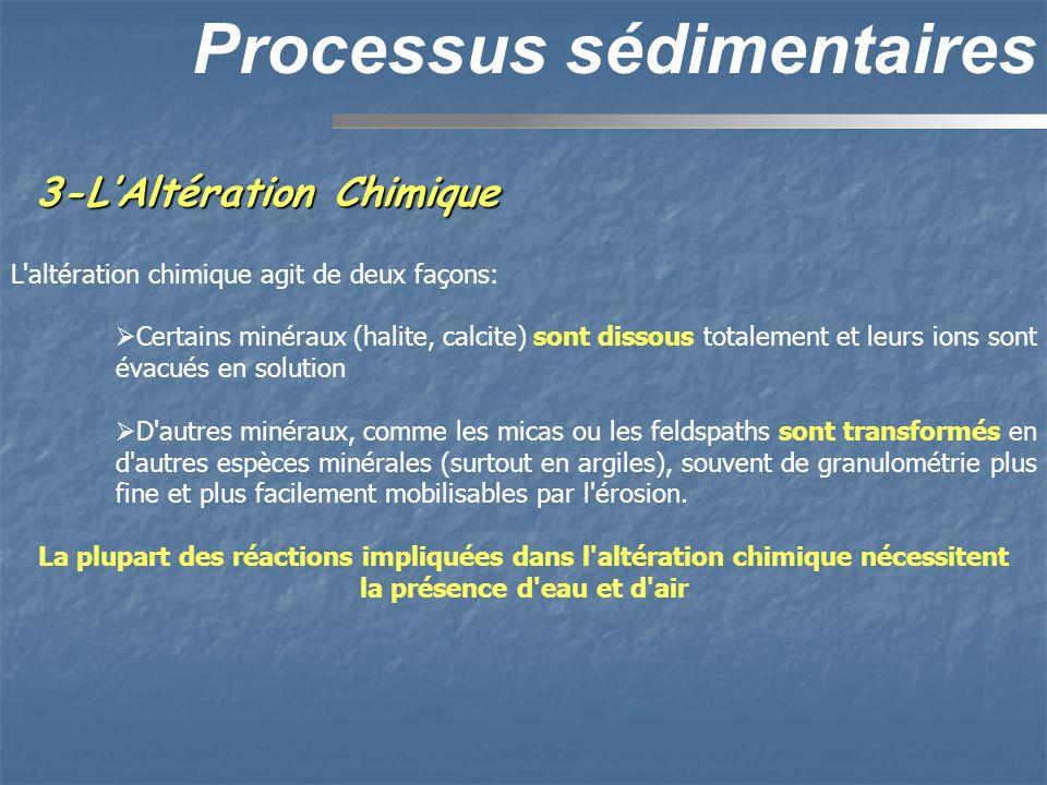 3-LAltération Chimique Processus sédimentaires L'altération chimique agit de deux façons: Certains minéraux (halite, calcite) sont dissous totalement