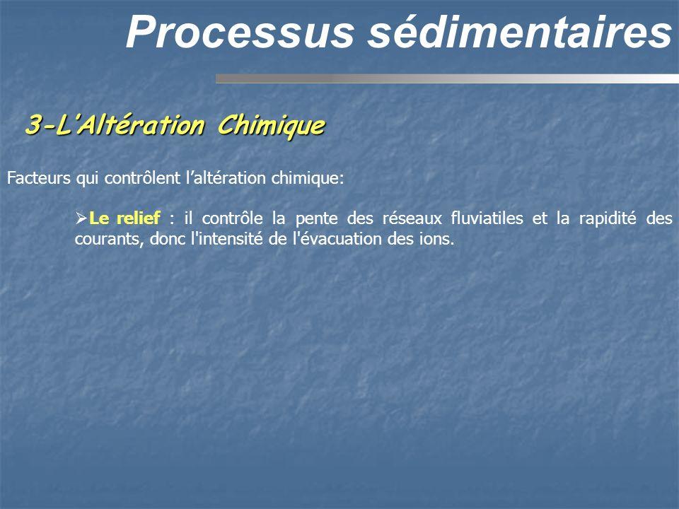 3-LAltération Chimique Processus sédimentaires Facteurs qui contrôlent laltération chimique: Le relief : il contrôle la pente des réseaux fluviatiles