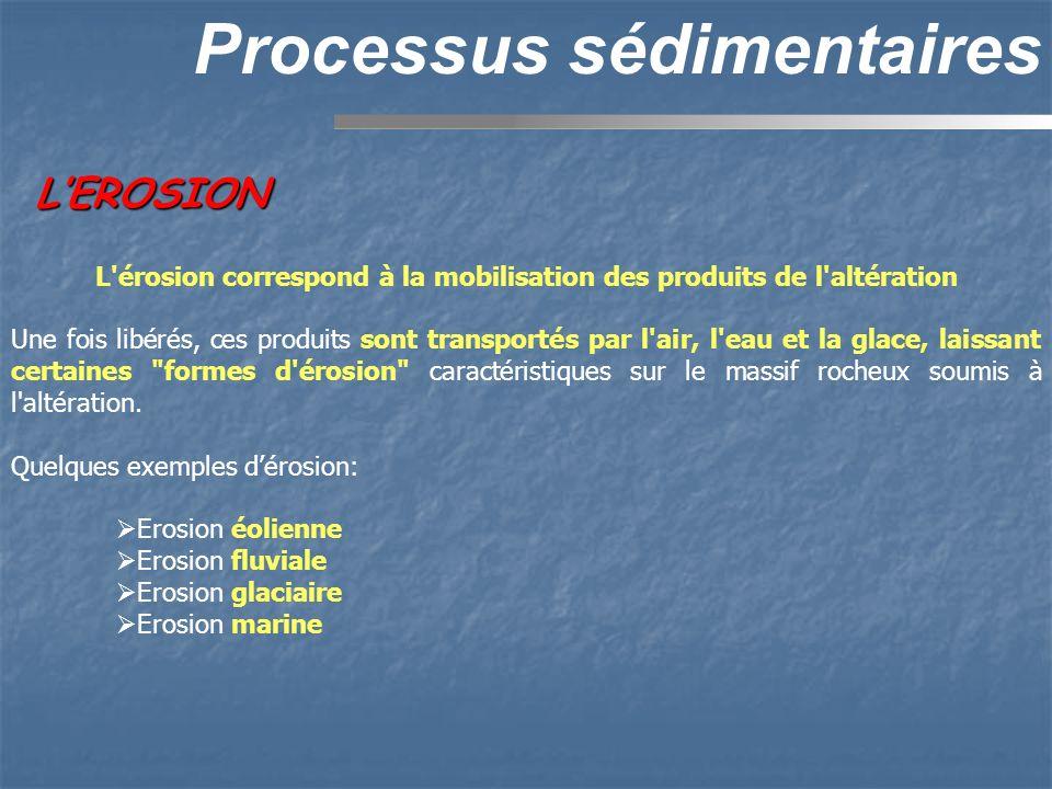 LEROSION Processus sédimentaires L'érosion correspond à la mobilisation des produits de l'altération Une fois libérés, ces produits sont transportés p