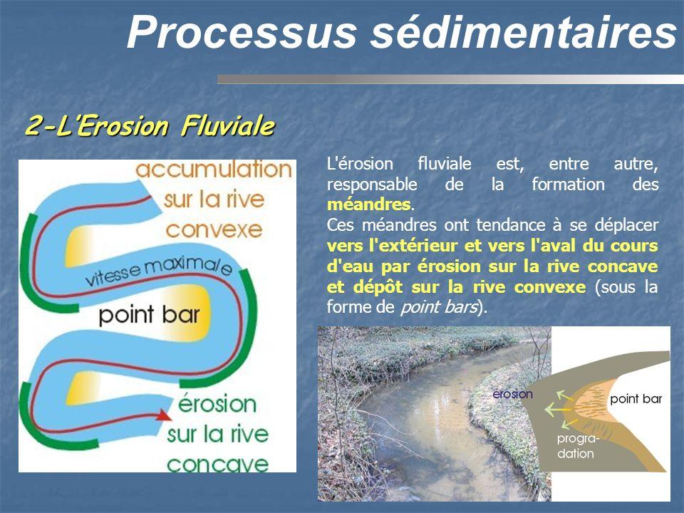 2-LErosion Fluviale Processus sédimentaires L'érosion fluviale est, entre autre, responsable de la formation des méandres. Ces méandres ont tendance à