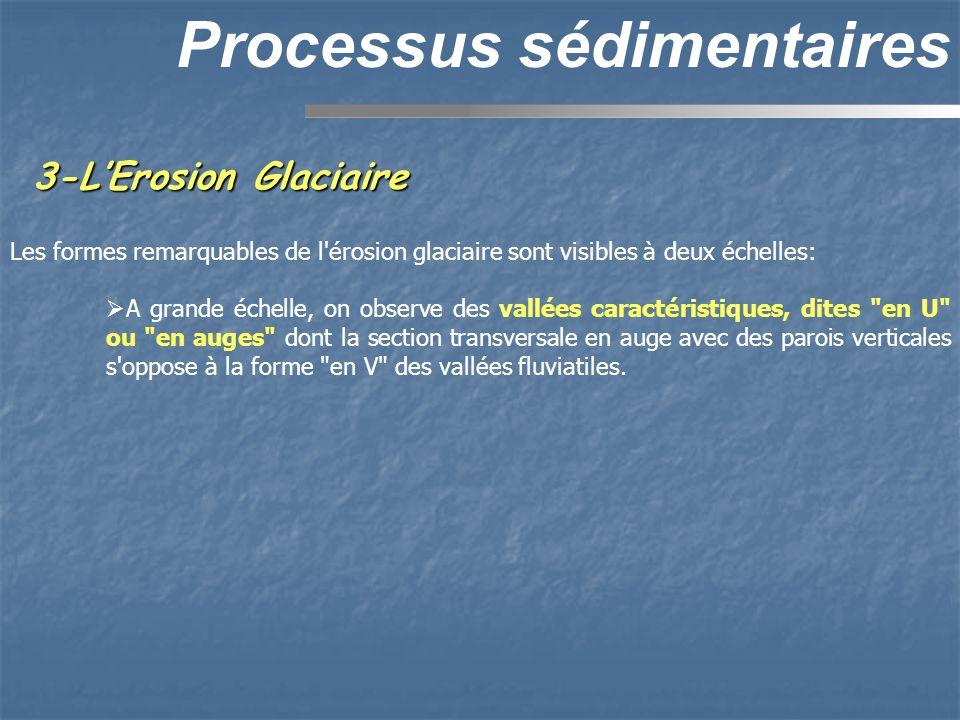 3-LErosion Glaciaire Processus sédimentaires Les formes remarquables de l'érosion glaciaire sont visibles à deux échelles: A grande échelle, on observ