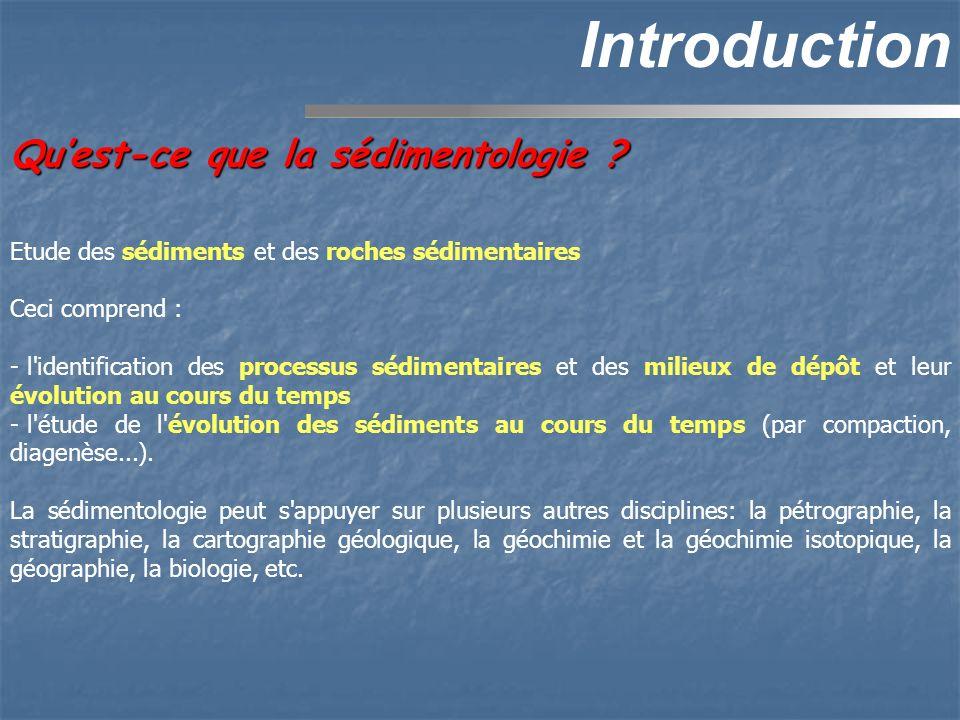 Introduction Quest-ce que la sédimentologie ? Etude des sédiments et des roches sédimentaires Ceci comprend : - l'identification des processus sédimen