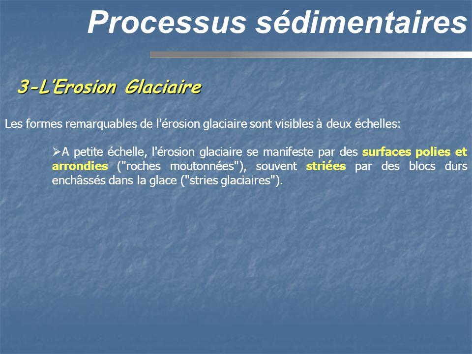 3-LErosion Glaciaire Processus sédimentaires Les formes remarquables de l'érosion glaciaire sont visibles à deux échelles: A petite échelle, l'érosion