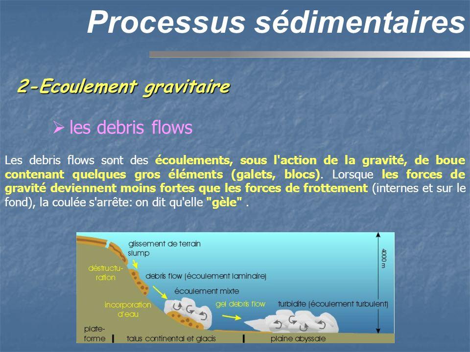 2-Ecoulement gravitaire Processus sédimentaires les debris flows Les debris flows sont des écoulements, sous l'action de la gravité, de boue contenant