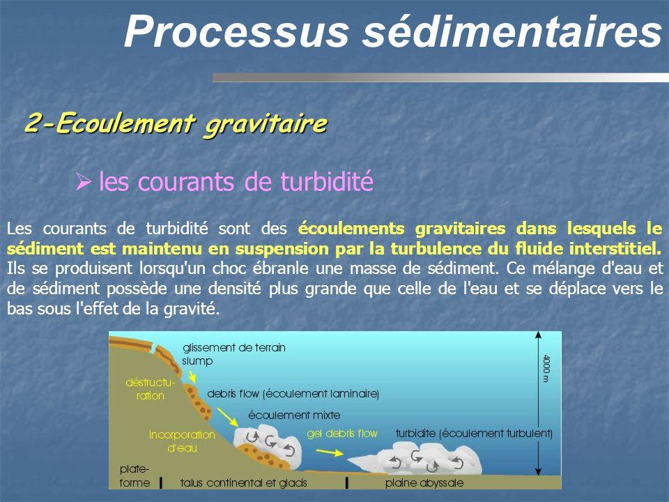 2-Ecoulement gravitaire Processus sédimentaires les courants de turbidité Les courants de turbidité sont des écoulements gravitaires dans lesquels le