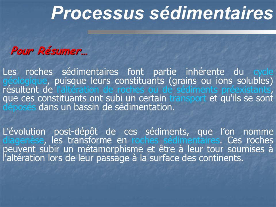 Pour Résumer… Processus sédimentaires Les roches sédimentaires font partie inhérente du cycle géologique, puisque leurs constituants (grains ou ions s