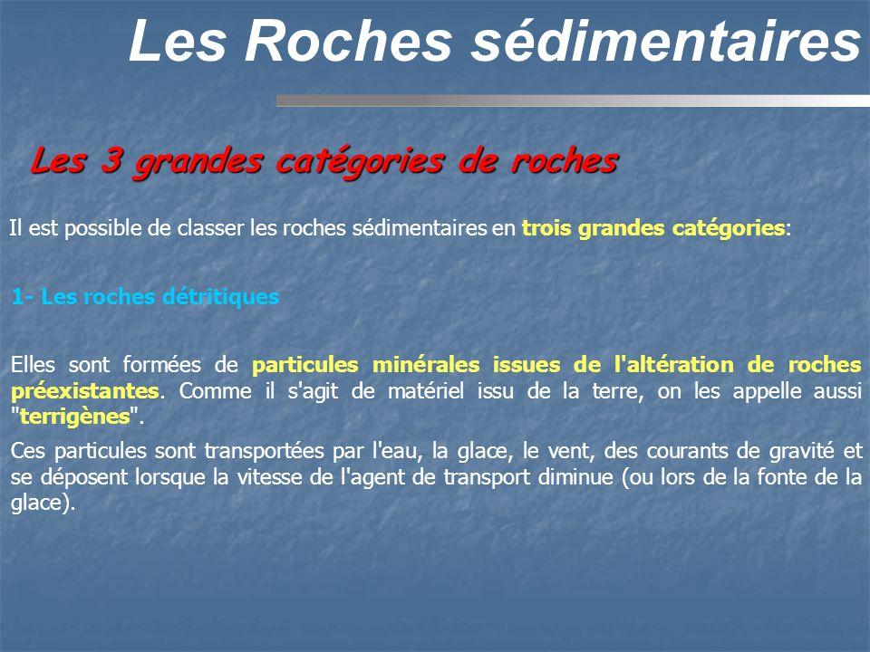 Les 3 grandes catégories de roches Les Roches sédimentaires 1- Les roches détritiques Elles sont formées de particules minérales issues de l'altératio
