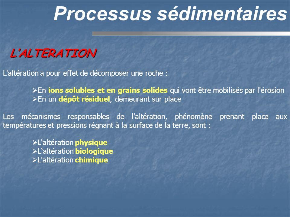 LALTERATION Processus sédimentaires L'altération a pour effet de décomposer une roche : En ions solubles et en grains solides qui vont être mobilisés