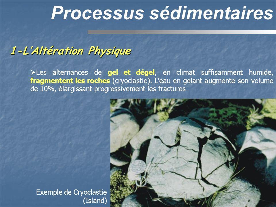 Processus sédimentaires Les variations répétées de température (40-50°C d amplitude journalière dans le Sahara) ont à peu près le même effet que le gel: les différences de dilatation thermique entre les minéraux d une roche provoquent l apparition de fractures.
