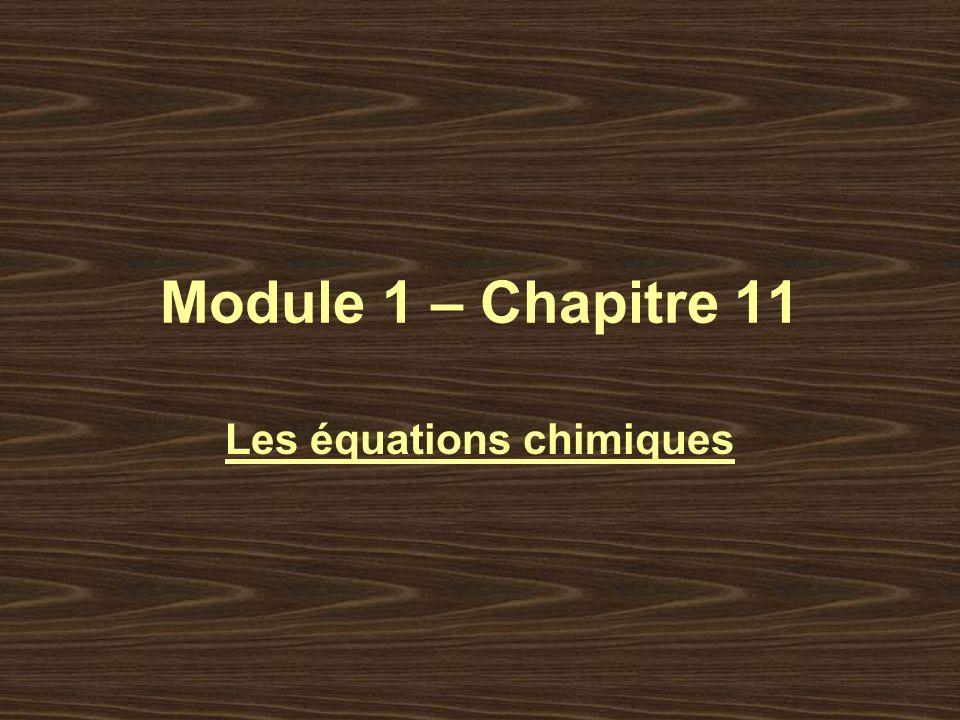 Module 1 – Chapitre 11 Les équations chimiques
