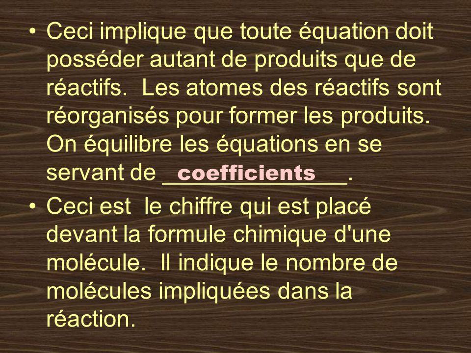 Ceci implique que toute équation doit posséder autant de produits que de réactifs. Les atomes des réactifs sont réorganisés pour former les produits.