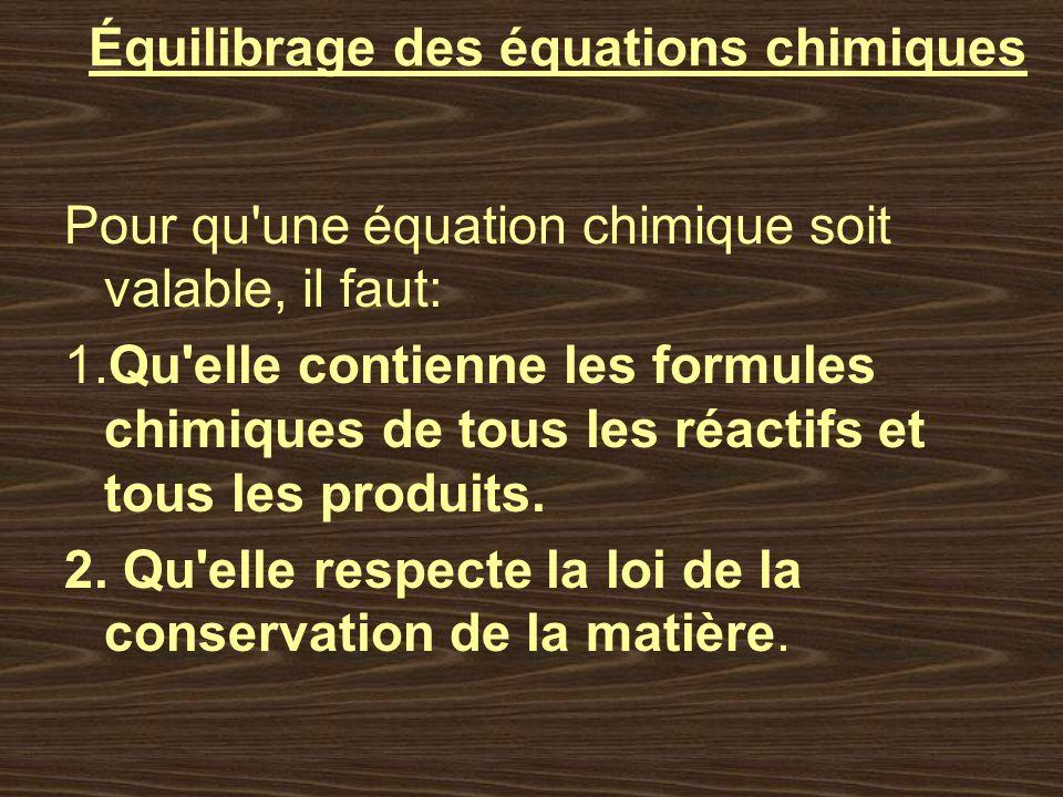 Équilibrage des équations chimiques Pour qu'une équation chimique soit valable, il faut: 1.Qu'elle contienne les formules chimiques de tous les réacti